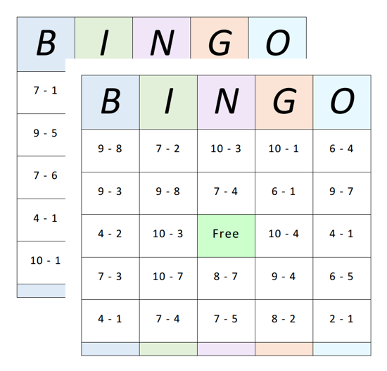 Bingo Cards - Subtraction - 1 to 10