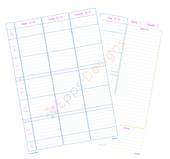 10-Weekly Planner [5 Periods with Times]